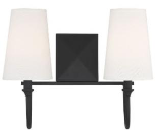 Cameron 2 Badeværelseslampe B38 cm - Mat sort/Hvid