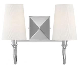 Cameron 2 Badeværelseslampe B38 cm - Poleret nikkel/Hvid