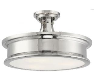 Watkins 3 Semi-Flush Plafond Ø41 cm - Poleret nikkel/Opalhvid