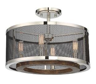 Valcour 4 Semi-Flush Plafond Ø41 cm - Poleret nikkel/Antracit/Brun