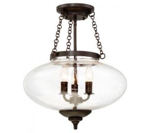 Talbott 3 Loftlampe Ø41 cm - Antik bronze/Klar med bobbel effekt