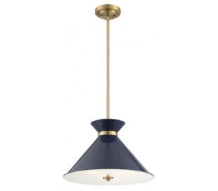 Lamar 3 Loftlampe Ø46 cm - Navyblå/Messing/Frostet