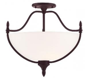 Herndon 3 Semi-Flush Plafond Ø66 cm - Antik bronze/Opalhvid