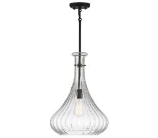 Bristo 1 Loftlampe Ø36 cm - Mat sort/Klar rillet