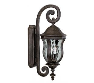 Monticello 2 Væglampe H56 cm - Patineret valnød/Klar bølget