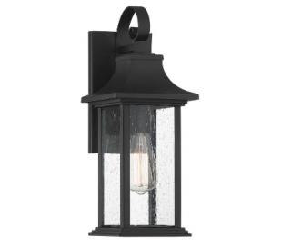 Hancock 1 Væglampe H44 cm - Mat sort/Klar med dråbe effekt