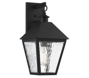 Harrison 1 Væglampe H46 cm - Mat sort/Klar med bølget effekt