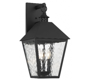 Harrison 3 Væglampe H55 cm - Mat sort/Klar med bølget effekt