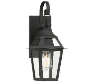 Jackson 1 Væglampe H44 cm - Mat sort/Klar