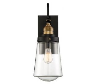 Macauley 1 Væglampe H34 cm - Vintage sort/Varm messing/Klar