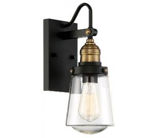 Macauley 1 Væglampe H53 cm - Vintage sort/Varm messing/Klar