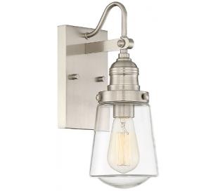 Macauley 1 Væglampe H53 cm - Satineret nikkel/Klar