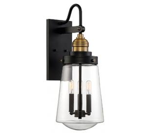 Macauley 3 Væglampe H60 cm - Vintage sort/Varm messing/Klar