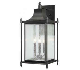 Dunnmore 3 Væglampe H60 cm - Sort/Klar med dråbe effekt