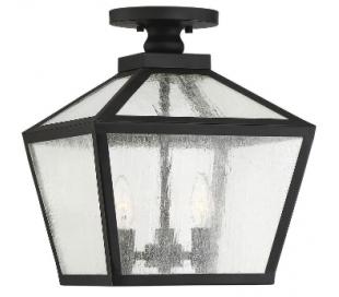 Woodstock 3 Loftlampe 30 x 30 cm - Mat sort/Klar med dråbe effekt