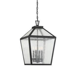 Woodstock 4 Loftlampe 38 x 38 cm - Mat sort/Klar med dråbe effekt