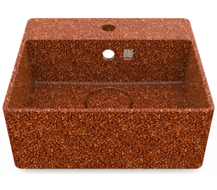 Woodio vægmonteret håndvask 40 x 40 cm ECO - Lerbrun