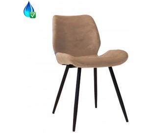 Miami Spisebordsstol i velour H78 cm - Sort/Taupe