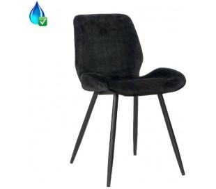 Miami Spisebordsstol i velour H78 cm - Sort/Antracit