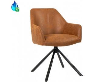Davie rotérbar Spisebordsstol i øko-læder H85 cm - Sort/Vintage cognac