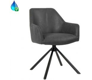 Davie rotérbar Spisebordsstol i øko-læder H85 cm - Sort/Vintage antracit