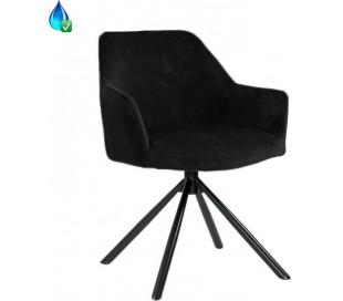 Davie rotérbar Spisebordsstol i velour H85 cm - Sort/Sort