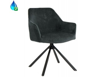 Davie rotérbar Spisebordsstol i velour H85 cm - Sort/Antracit
