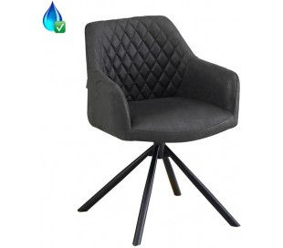 Dex rotérbar spisebordsstol i øko-læder H80 cm - Sort/Vintage sort