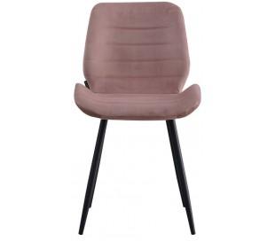 Toby Spisebordsstol i velour H77 cm - Sort/Rosa