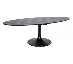 Blax ovalt spisebord i egetræ og jern 250 x 120 cm - Sort