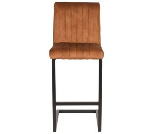Milo barstol i velour og metal H100 cm - Sort/Okker