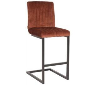 Milo barstol i velour og metal H100 cm - Sort/Rust