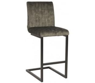 Milo barstol i velour og metal H100 cm - Sort/Jægergrøn