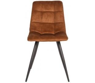 Jelt spisesbordsstol i velour og metal H85 cm - Sort/Okker