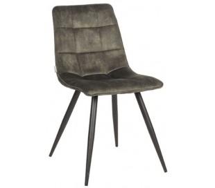 Jelt spisesbordsstol i velour og metal H85 cm - Sort/Jægergrøn