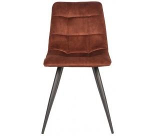 Jelt spisesbordsstol i velour og metal H85 cm - Sort/Rust