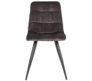 Jelt spisesbordsstol i velour og metal H85 cm - Sort/Antracit
