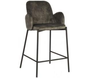 Jari barstol i velour og metal H94 cm - Sort/Armygrøn