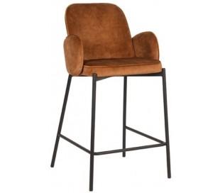 Jari barstol i velour og metal H94 cm - Sort/Okker