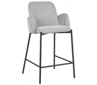 Jari barstol i polyester og metal H94 cm - Sort/Zinkgrå
