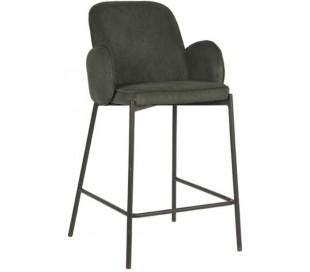 Jari barstol i ripcord polyester og metal H94 cm - Sort/Armygrøn