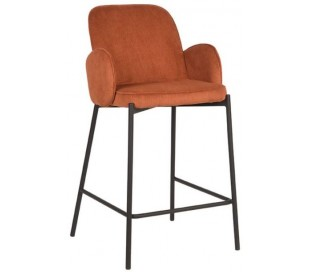Jari barstol i ripcord polyester og metal H94 cm - Sort/Rust