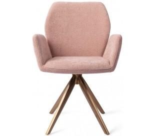 2 x Misaki Rotérbare Spisebordsstole H87 cm polyester - Rødguld/Rosa
