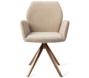 2 x Misaki Rotérbare Spisebordsstole H87 cm polyester - Rødguld/Karamel
