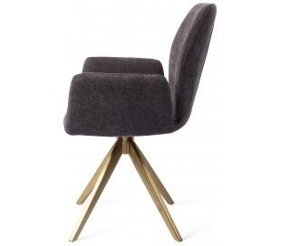 2 x Misaki Rotérbare Spisebordsstole H87 cm polyester - Guld/Antracit