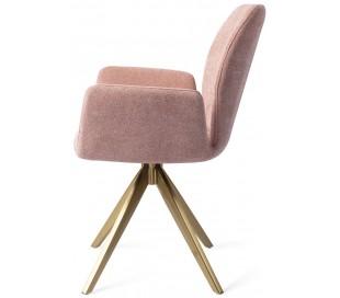2 x Misaki Rotérbare Spisebordsstole H87 cm polyester - Guld/Rosa