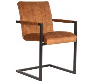 Milo spisesbordsstol i velour og metal H85 cm - Industriel sort/Okker