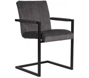 Milo spisesbordsstol i velour og metal H85 cm - Industriel sort/Antracit