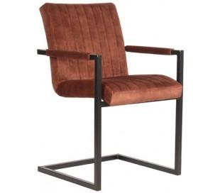 Milo spisesbordsstol i velour og metal H85 cm - Industriel sort/Rust