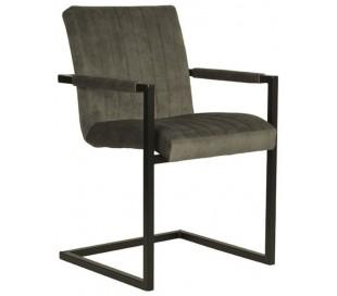 Milo spisesbordsstol i velour og metal H85 cm - Industriel sort/Jægergrøn
